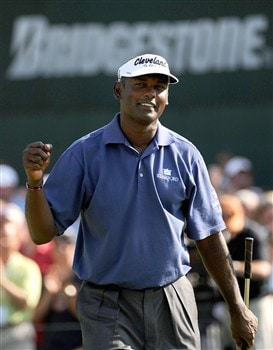 AKRON, OH - AUGUST 03:  Vijay Singh of Fiji reacts after winning the WGC-Bridgestone Invitational at Firestone Country Club South Course on August 3, 2008 in Akron, Ohio.  (Photo by Sam Greenwood/Getty Images)