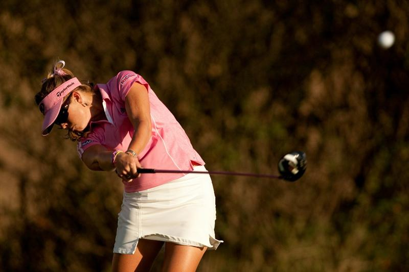 DANVILLE, CA - OCTOBER 14: Paula Creamer follows through on a tee shot during the first round of the CVS/Pharmacy LPGA Challenge at Blackhawk Country Club on October 14, 2010 in Danville, California. (Photo by Darren Carroll/Getty Images)