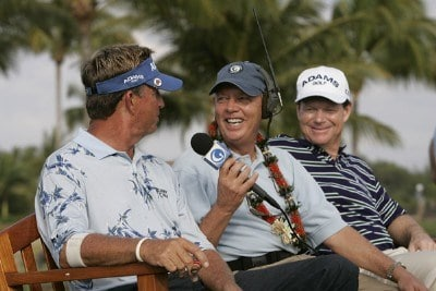Dana Quigley and Tom Watson are interviewed by the Golf Channel's John Mahaffey during the first round of the 2006 Mastercard Championship  at Hualalai resort,  Kona, Hawaii. January 20,2006Photo by: Chris Condon/PGA TOUR