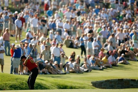 CHARLOTTE, NC - MAY 02:  Phil Mickelson hits a shot on the 18th hole during the second round of the Wachovia Championship at Quail Hollow Country Club on May 2, 2008 in Charlotte, North Carolina.  (Photo by Streeter Lecka/Getty Images)