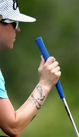MORELIA, MEXICO- APRIL 23:  Mollie Fankhauser's tattoos are shown during the first round of the 2009 Corona Championship, part of the LPGA Tour, on April 23, 2009 at the Tres Marias Golf Club in Morelia, Michoacan, Mexico. (Photo by Donald Miralle/Getty Images)