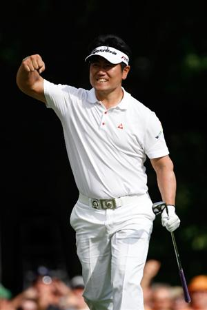 CHASKA, MN - AUGUST 16:  Y.E. Yang of South Korea celebrates after holing out for eagle on the 14th hole during the final round of the 91st PGA Championship at Hazeltine National Golf Club on August 16, 2009 in Chaska, Minnesota.  (Photo by Streeter Lecka/Getty Images)