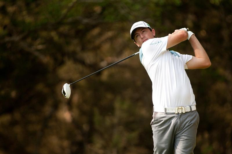 SAN ANTONIO, TX - APRIL 14: Peter Tomasulo follows through on a tee shot during the first round of the Valero Texas Open at the AT&T Oaks Course at TPC San Antonio on April 14, 2011 in San Antonio, Texas. (Photo by Darren Carroll/Getty Images)
