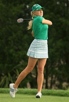 MT. PLEASANT, SC - MAY 30:  Natalie Gulbis tees off on the 11th hole during the second round of the Ginn Tribute at RiverTowne Country Club on May 30, 2008 in Mt. Pleasant, South Carolina.  (Photo by Scott Halleran/Getty Images)