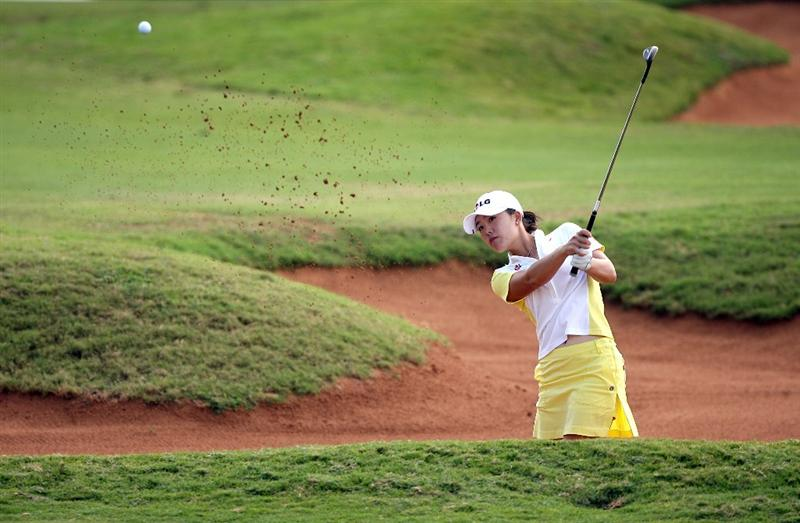 KAHUKU, HI - FEBRUARY 13:  Angela Park of Brazil hits her third shot on the 9th hole during the second round of the SBS Open on February 13, 2009 at the Turtle Bay Resort in Kahuku, Hawaii.  (Photo by Andy Lyons/Getty Images)
