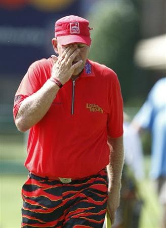 MEMPHIS, TN - JUNE 13: John Daly reacts o his putt on the 17th green during the final round of the St. Jude Classic at TPC Southwind held on June 13, 2010 in Memphis, Tennessee.  (Photo by John Sommers II/Getty Images)