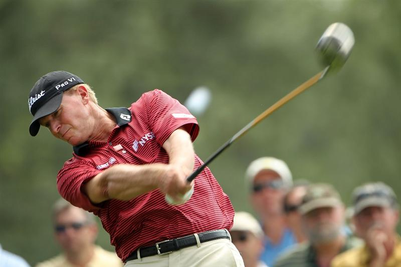 AUGUSTA, GA - APRIL 08: Steve Stricker watches his tee shot on the 18th hole during the second round of the 2011 Masters Tournament at Augusta National Golf Club on April 8, 2011 in Augusta, Georgia.  (Photo by Jamie Squire/Getty Images)
