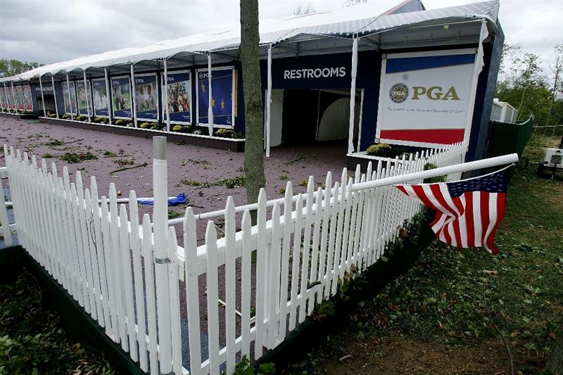 LOUISVILLE, KY - SEPTEMBER 14: High winds damage the course prior to the 37th Ryder Cup at Valhalla Golf Club on September 14, 2008 in Louisville, Kentucky. (Photo by Andy Lyons/Getty Images)