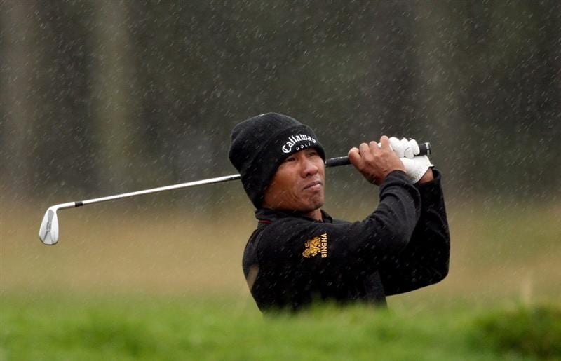 CARNOUSTIE, UNITED KINGDOM - OCTOBER 04:  Thongchai Jaidee of Thailand on the nineth hole during the third round of The Alfred Dunhill Links Championship at Carnoustie Golf Club on October 4, 2008 in Carnoustie, Scotland.  (Photo by Warren Little/Getty Images)