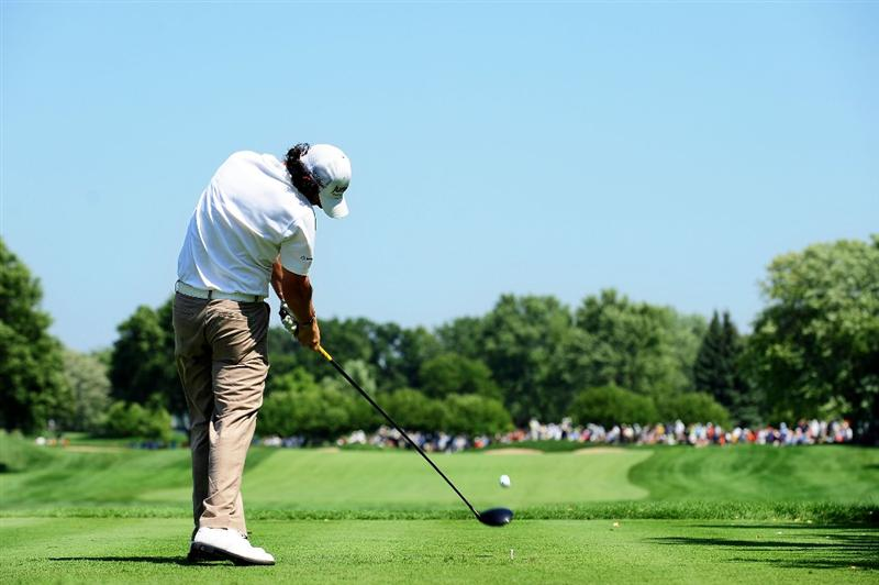 CHASKA, MN - AUGUST 14:  Rory McIlroy of Northern Ireland hits his tee shot on the second hole during the second round of the 91st PGA Championship at Hazeltine National Golf Club on August 14, 2009 in Chaska, Minnesota.  (Photo by Stuart Franklin/Getty Images)