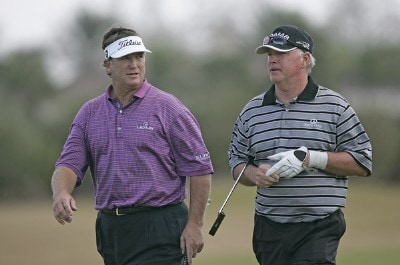 Peter Jacobsen (L) and Tom Jenkins (R) during the first round of the ACE Group Classic held at the TwinEagles GC in Naples, Florida on February 17, 2006.Photo by Sam Greenwood/WireImage.com