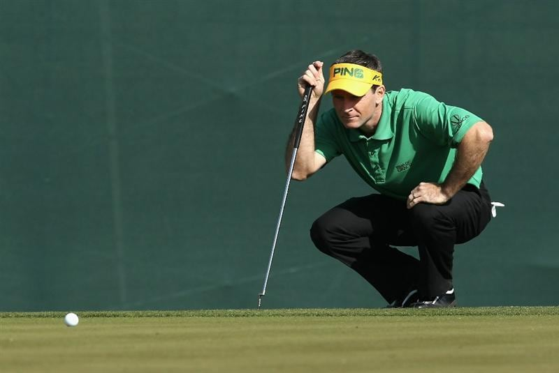 SCOTTSDALE, AZ - FEBRUARY 06:  Mark Wilson lines up his putt on the 16th hole green during the third round of the Waste Management Phoenix Open at TPC Scottsdale on February 6, 2011 in Scottsdale, Arizona.  (Photo by Christian Petersen/Getty Images)