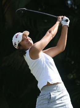 WEST PALM BEACH, FL - NOVEMBER 15:  Laura Diaz of watches her tee shot on the ninth hole during the first round of the 2007 ADT Championship at the Trump International Golf Club on November 15, 2007 in West Palm Beach, Florida  (Photo by Scott Halleran/Getty Images)