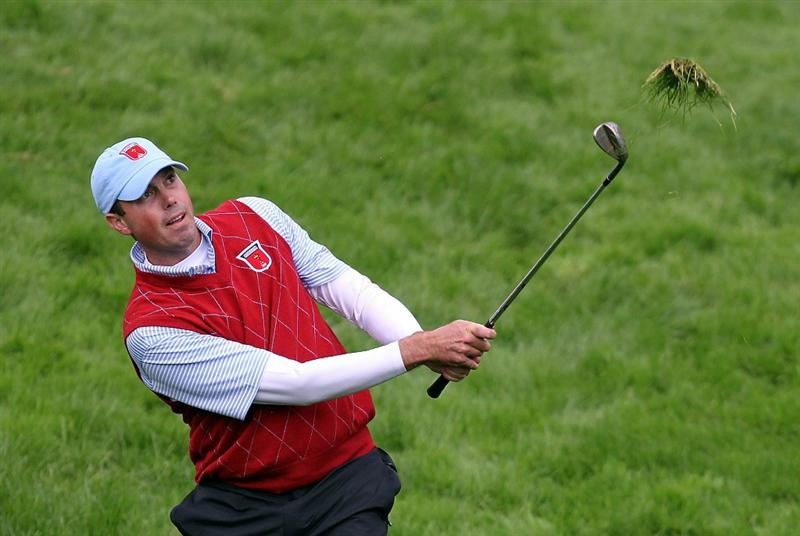 NEWPORT, WALES - OCTOBER 03:  Matt Kuchar of the USA hits from the rough during the  Fourball & Foursome Matches during the 2010 Ryder Cup at the Celtic Manor Resort on October 3, 2010 in Newport, Wales. (Photo by Andy Lyons/Getty Images)
