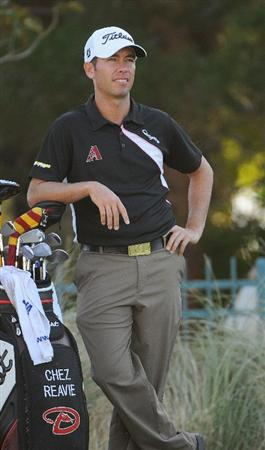 LAS VEGAS - OCTOBER 17:  Chez Reavie waits on the 4th tee for the fairway to clear during the second round of the Justin Timberlake Shriners Hospitals for Children Open held at the TPC Summerlin on Friday, October 17, 2008 in Las Vegas, Nevada. (Photo by Marc Feldman/Getty Images)