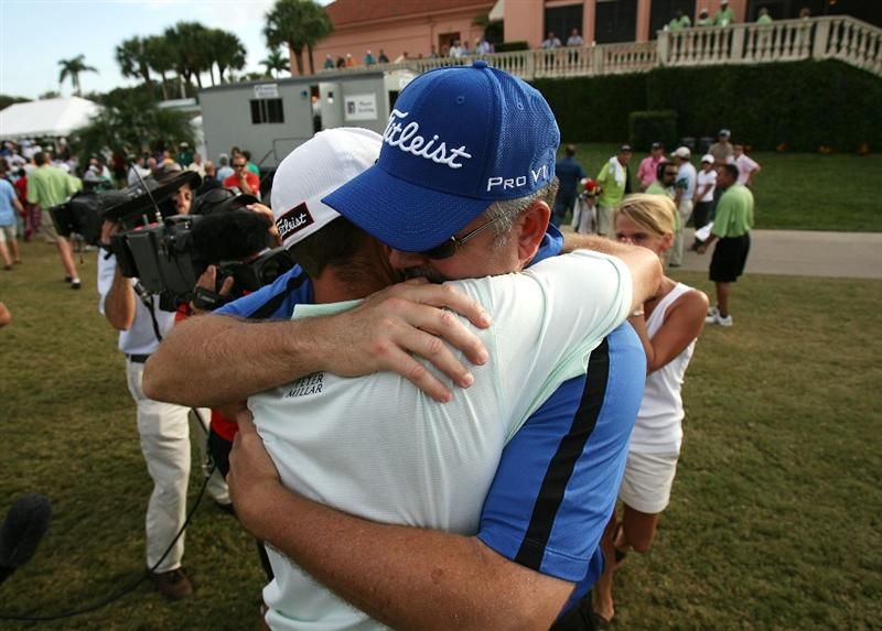 WEST PALM BEACH, FL - DECEMBER 07:  Troy Merritt hugs his dad Mark Merritt after winning medalist honors during the final round of the 2009 PGA TOUR Qualifying Tournament at Bear Lakes Country Club on December 7, 2009 in West Palm Beach, Florida.  (Photo by Doug Benc/Getty Images)