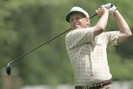 Wayne Levi hits a drive on the 3rd hole on his way to a 65 during the first round of the 2005 Commerce Bank Championship at Eisenhower Park in East Meadow, New York on July 1, 2005.Photo by Michael Cohen/WireImage.com