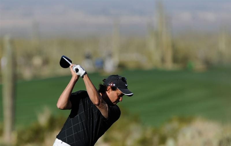MARANA, AZ - FEBRUARY 17: Stephen Ames of Canada plays a shot on the second hole during round one of the Accenture Match Play Championship at the Ritz-Carlton Golf Club on February 17, 2010 in Marana, Arizona.  (Photo by Hunter Martin/Getty Images)