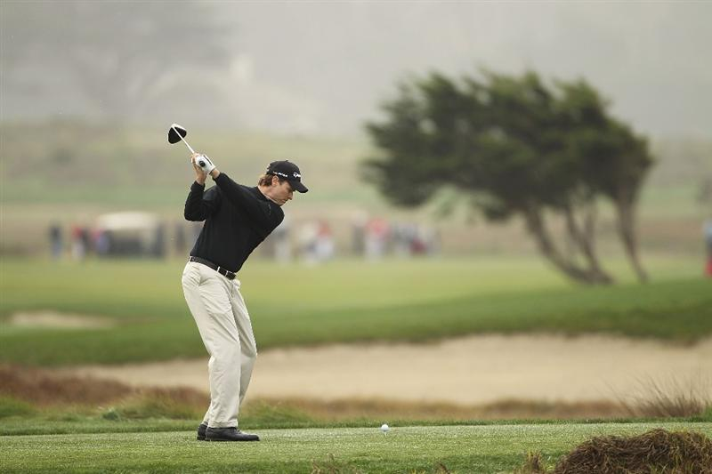 PEBBLE BEACH, CA - FEBRUARY 12:  Bob Estes tees off on the 12th hole during round two of the AT&T Pebble Beach National Pro-Am at the Monterey Peninsula Country Club Shore Course on February 12, 2010 in Pebble Beach, California.  (Photo by Ezra Shaw/Getty Images)