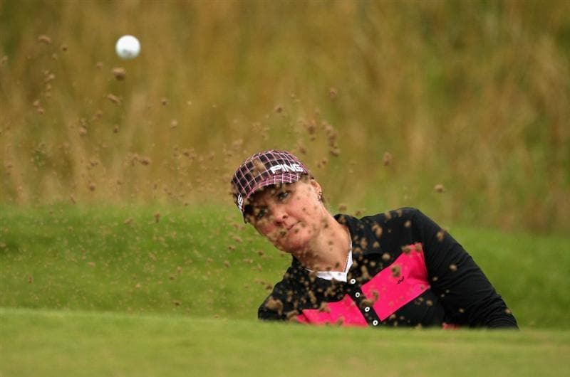 LYTHAM ST ANNES, ENGLAND - JULY 29:  Maria Hjorth of Sweden plays plays out a bunker during practice prior to the 2009 Ricoh Women's British Open Championship held at Royal Lytham St Annes Golf Club, on July 29, 2009 in Lytham St Annes, England.  (Photo by Warren Little/Getty Images)