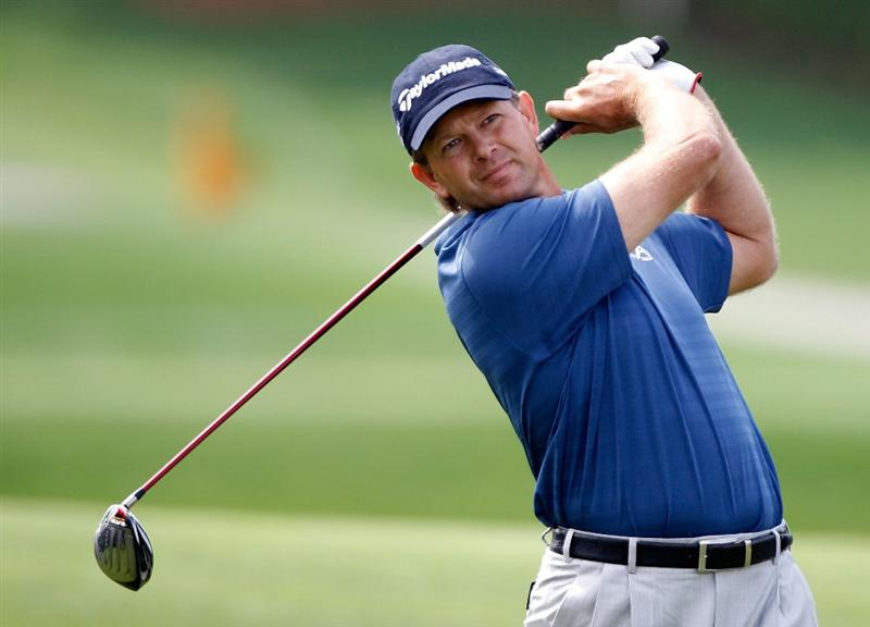 ORLANDO, FL - MARCH 29:  Retief Goosen of South Africa hits his tee shot on the 18th hole during the completion of the final round of the Arnold Palmer Invitational presented by MasterCard at the Bayhill Club and Lodge on March 29, 2010 in Orlando, Florida.  (Photo by Scott Halleran/Getty Images)