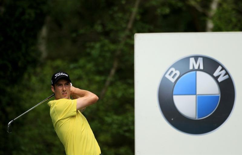 VIRGINIA WATER, ENGLAND - MAY 19:  Ross Fisher of England tees off during the Pro-Am round prior to the BMW PGA Championship on the West Course at Wentworth on May 19, 2010 in Virginia Water, England.  (Photo by Warren Little/Getty Images)