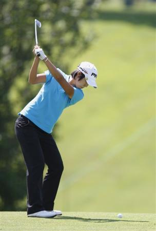 SYLVANIA, OH - JULY 03: Song-Hee Kim of South Korea hits from the first fairway during the second round of the Jamie Farr Owens Corning Classic at Highland Hills Golf Club on July 3, 2009 in Sylvania, Ohio. (Photo by Gregory Shamus/Getty Images)