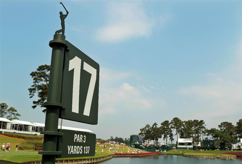 PONTE VEDRA BEACH, FL - MAY 11:  The 17th hole sign is seen during a practice round prior to the start of THE PLAYERS Championship held at THE PLAYERS Stadium course at TPC Sawgrass on May 11, 2011 in Ponte Vedra Beach, Florida.  (Photo by Scott Halleran/Getty Images)