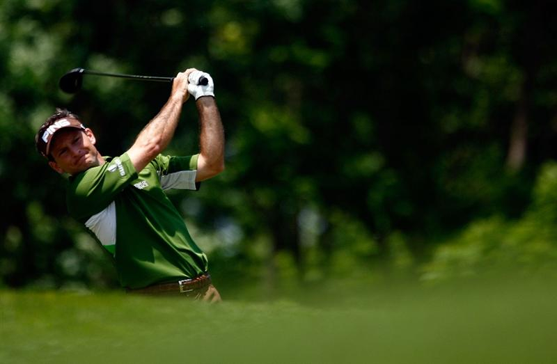 DUBLIN, OH - JUNE 07:  Mark Wilson watches his tee shot on the third hole during the final round of the Memorial Tournament at the Muirfield Village Golf Club on June 7, 2009 in Dublin, Ohio.  (Photo by Scott Halleran/Getty Images)