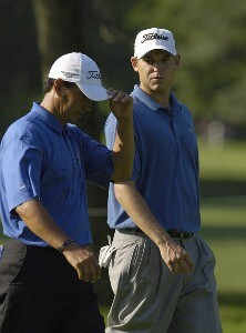 Tom Pernice, Jr. and Bill Haas during the continuation of the first round of the U.S. Bank Championship in Milwaukee at Brown Deer Park Golf Course in Milwaukee, Wisconsin, on July 28, 2006.Photo by Steve Levin/WireImage.com