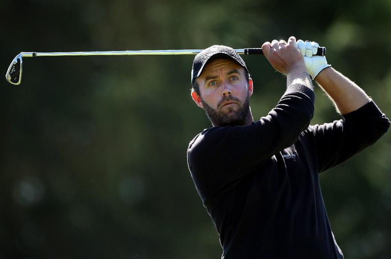 CRANS, SWITZERLAND - SEPTEMBER 05:  Christian Nilsson of Sweden watches his tee-shot on the 16th hole during the third round of The Omega European Masters at Crans-Sur-Sierre Golf Club on September 5, 2009 in Crans Montana, Switzerland.  (Photo by Andrew Redington/Getty Images)