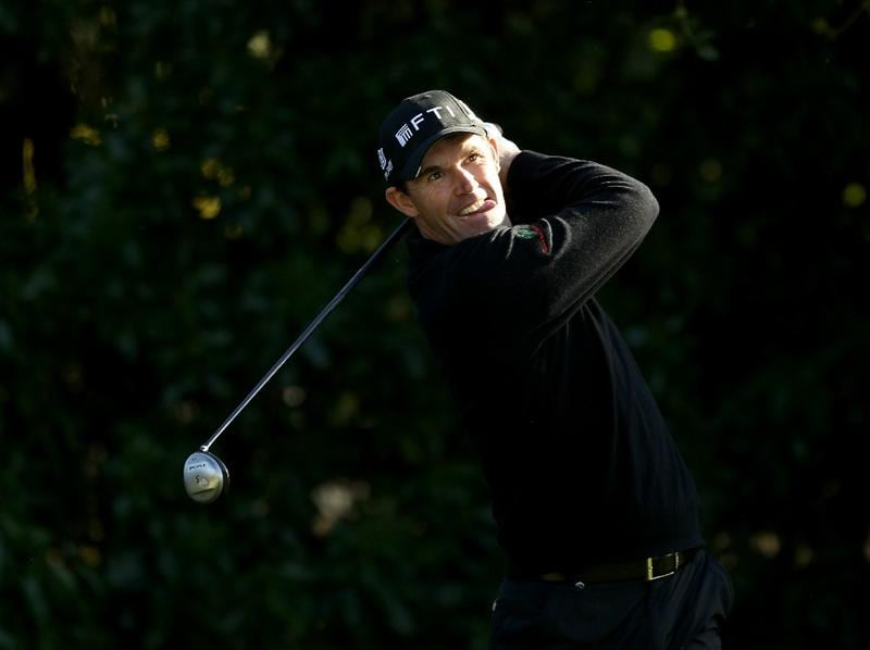 PEBBLE BEACH, CA - FEBRUARY 13:  Padraig Harrington of Ireland tees off on 16th hole during the final round of the AT&T Pebble Beach National Pro-Am at the Pebble Beach Golf Links on February 13, 2011 in Pebble Beach, California.  (Photo by Ezra Shaw/Getty Images)