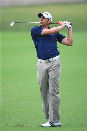 FORT WORTH, TX - MAY 20: Sergio Garcia of Spain watches his second shot on the 15th hole during the second round of the Crowne Plaza Invitational at Colonial Country Club on May 20, 2011 in Fort Worth, Texas. (Photo by Hunter Martin/Getty Images)