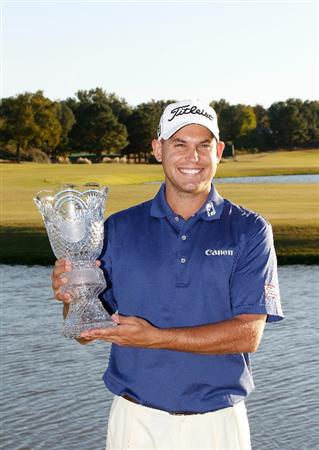 MADISON, MS - OCTOBER 03: Bill Haas holds the trophy after winning the Viking Classic held at Annandale Golf Club on October 3, 2010 in Madison, Mississippi.  (Photo by Michael Cohen/Getty Images)
