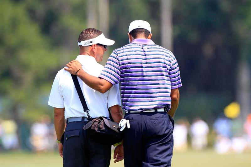 PONTE VEDRA BEACH, FL - MAY 10:  Tiger Woods (R) walks with his instructor Sean Foley (L) during a practice round prior to the start of THE PLAYERS Championship held at THE PLAYERS Stadium course at TPC Sawgrass on May 10, 2011 in Ponte Vedra Beach, Florida.  (Photo by Sam Greenwood/Getty Images)