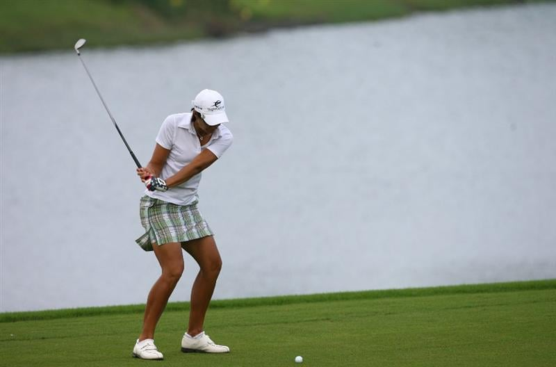 HAIKOU, CHINA - OCTOBER 26: (CHINA OUT) Laura Diaz of the US hits her second shot on the 3rd hole during day three of the Grand China Air LPGA 2008 on October 26, 2008 in Haikou of Hainan Province, China. (Photo by China Photos/Getty Images)