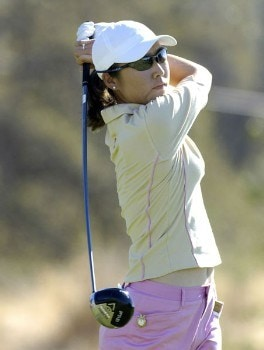 Candie Kung in action during the first round of the LPGA Longs Drugs Challenge at the Ridge Golf Club in Auburn, California on October 6, 2005Photo by Marc Feldman/WireImage.com