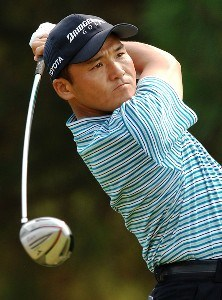 Shigeki Maruyama of Japan plays his shot from the second tee during the final round of the Wyndham Championship at Forest Oaks Country Club on August 19, 2007 in Greensboro, North Carolina. PGA TOUR - 2007 Wyndham Championship - Final RoundPhoto by Jonathan Ernst/WireImage.com