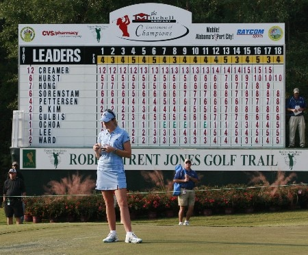 MOBILE, AL - NOVEMBER 10: Tournament leader Paula Creamer checks her scorecard as she waits for play to finish on the 18th green during third round play in The Mitchell Company LPGA Tournament of Champions at Magnolia Grove Golf Course on November 10, 2007 in Mobile, Alabama.  (Photo by Dave Martin/Getty Images)