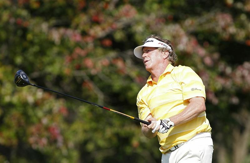 POTOMAC, MD - OCTOBER 10:  Michael Allen watches his drive on the 15th hole during the final round of the Constellation Energy Senior Players Championship held at TPC Potomac at Avenel Farm on October 10, 2010 in Potomac, Maryland.  (Photo by Michael Cohen/Getty Images)