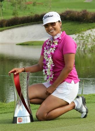 KUALA LUMPUR, MALAYSIA - OCTOBER 24 : Sime Darby LPGA Champion Jimin Kang of South Korea poses with her Trophy after the presentation ceremony, during the Final Round of the Sime Darby LPGA at the Kuala Lumpur Golf and Country Club on October 24, 2010 in Kuala Lumpur, Malaysia. (Photo by Stanley Chou/Getty Images)