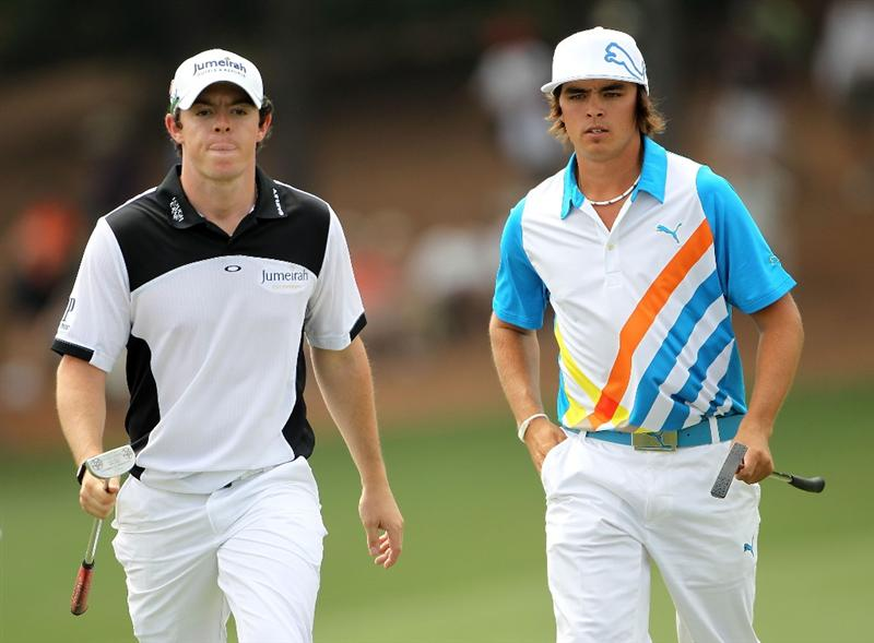 AUGUSTA, GA - APRIL 08:  (L-R) Rory McIlroy of Northern Ireland and Rickie Fowler walk together on the ninth hole during the second round of the 2011 Masters Tournament at Augusta National Golf Club on April 8, 2011 in Augusta, Georgia.  (Photo by Jamie Squire/Getty Images)