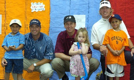 Ryan Palmer, Ian Legattt and J.J. Henry visits with children at the Cooks Childrens Medical Center during the PGA TOUR's Charity visit on Tuesday, May 17,2005before the  Bank of America Colonial InvitationalPhoto by Marc Feldman/WireImage.com