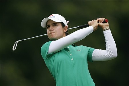 WILLIAMSBURG, VA - MAY 9: Lorena Ochoa of Mexico hits her tee  shot on the 13th hole during the second round of the Michelob Ultra Open at Kingsmill Resort & Spa on May 9, 2008 in Williamsburg, Virginia. (Photo by Hunter Martin/Getty Images)