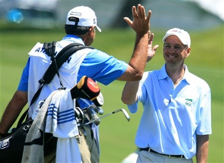 LA JOLLA, CA - JUNE 06:  Amateur John Atkinson celebrates with his caddie Bob Rotella after a shot during the Golf Digest U.S. Open Challenge at the Torrey Pines Golf Course on June 6, 2008 in La Jolla, California.  (Photo by Scott Halleran/Getty Images)