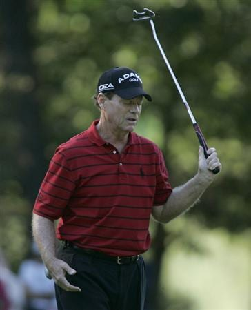 TIMONIUM, MD - OCTOBER 04: Tom Watson reacts to his missed birdie putt on the 14th green during the final round of the Constellation Energy Senior Players Championship at Baltimore Country Club/Five Farms (East Course) held on October 4, 2009 in Timonium, Maryland (Photo by Michael Cohen/Getty Images)