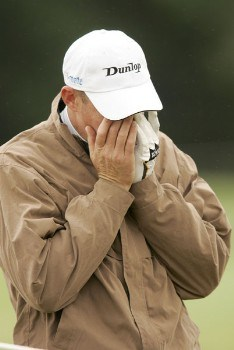James Kingston reacts to a poor shot during the rain delayed second round of the 2005 Deutsche Bank Players Championship at Gut Kaden Golf Club in Hamburg, Germany on July 23, 2005.Photo by Pete Fontaine/WireImage.com