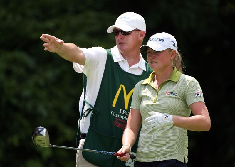 HAVRE DE GRACE, MD - JUNE 13:  Stacy Lewis  and her caddie line up her tee shot on the 4th hole during the third round of the McDonald's LPGA Championship at Bulle Rock Golf Course on June 13, 2009 in Havre de Grace, Maryland.  (Photo by Andy Lyons/Getty Images)