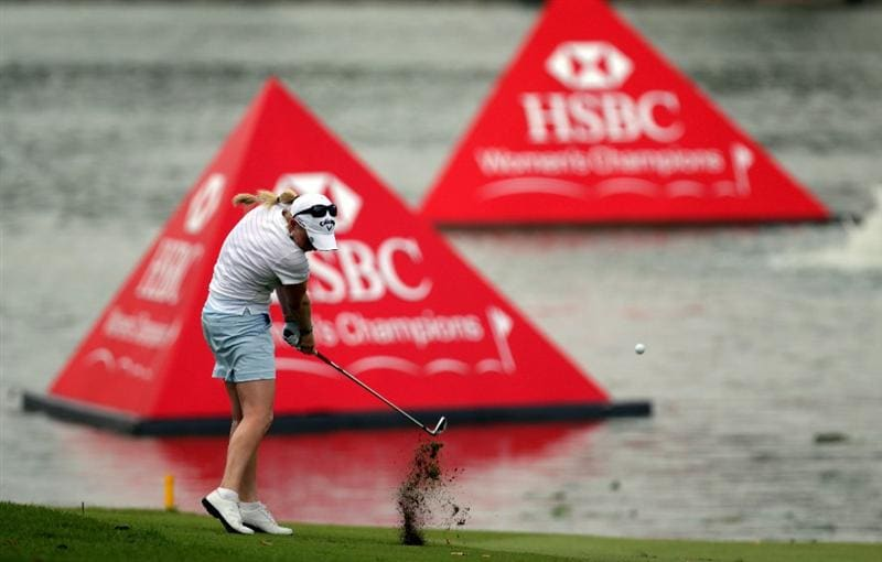 SINGAPORE - FEBRUARY 27:  Morgan Pressel of the USA during the final round of the HSBC Women's Champions at Tanah Merah Country Club  on February 27, 2011 in Singapore, Singapore.  (Photo by Ross Kinnaird/Getty Images)