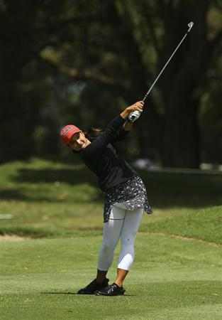 MELBOURNE, AUSTRALIA - FEBRUARY 06:  Mariajo Uribe of Colombia plays a shot during day four of the Women's Australian Open at The Commonwealth Golf Club on February 6, 2011 in Melbourne, Australia.  (Photo by Lucas Dawson/Getty Images)